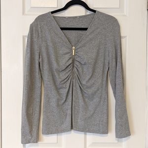 🆕 Michael Kors Gray Zip Rouched Long Sleeve Top